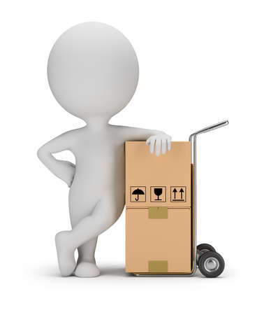 man carrying box: 3d small person leaned on a cart with boxes. 3d image. White background.