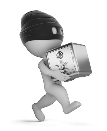 3d small person - running thief with a safe. 3d image. White background.