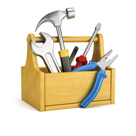 Tool box with tools. 3d image. Isolated white background. Stock Photo