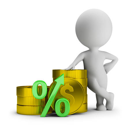 3d small person stands next to the coins and the percent symbol. 3d image. White background.