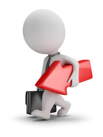 3 d の小さいビジネスマンは、手に赤い矢印が付属します。3 d 画像。白い背景。 写真素材