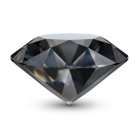 Black diamond. 3d image. Isolated white background.