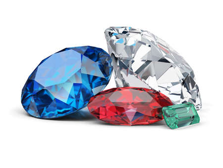 Diamond, sapphire, ruby and emerald. 3d image. White background.