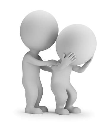 One 3d small person comforts another. 3d image. White background.