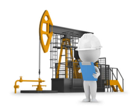 technology: 3d small person - engineer petroleum on the background of oil pumps. 3d image. White background.