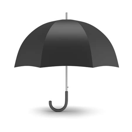 Black umbrella. 3d image. White background. Stock Photo