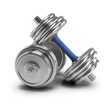 sports equipment: Two dumbbells. 3d image. White background.