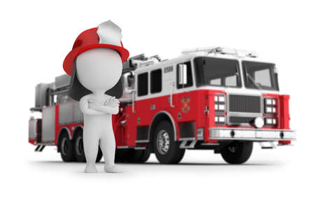 3d small fireman on a background of fire truck. 3d image. White background.