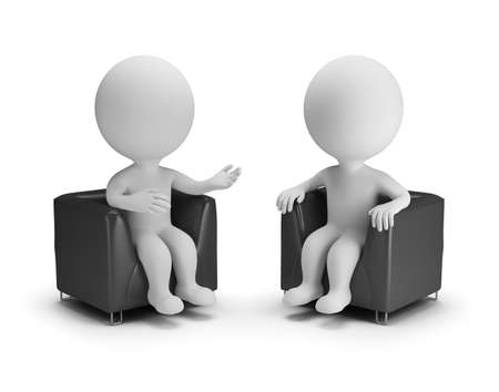 Two 3d people in armchairs chat. 3d image. White background.