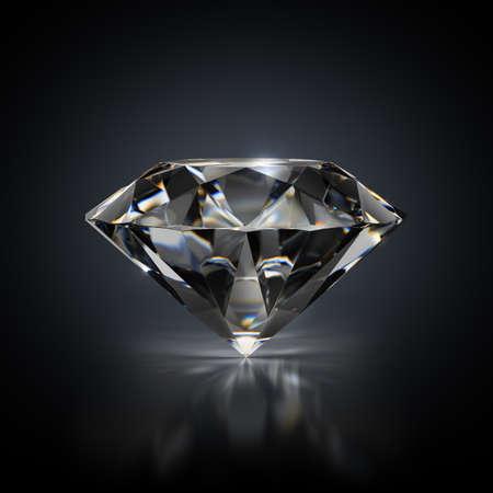 3d image. Diamond on a black reflective background.