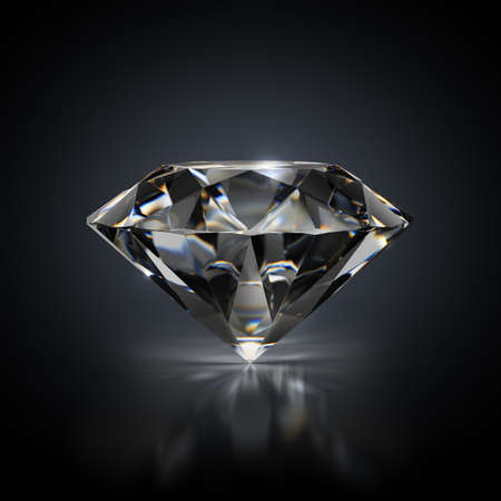3d image. Diamond on a black reflective background.