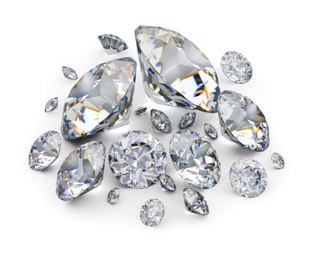 Placer of diamonds. 3d image. White background. Stock Photo