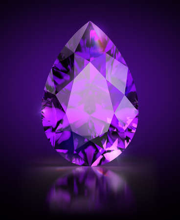 Pear-shaped amethyst on a black reflective background. 3d image. Banque d'images