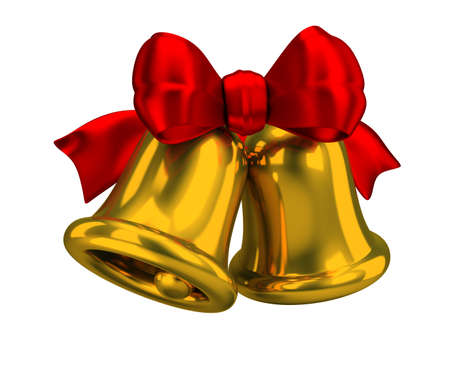 Two Christmas bells with a red silk bow. 3d image. Isolated white background.