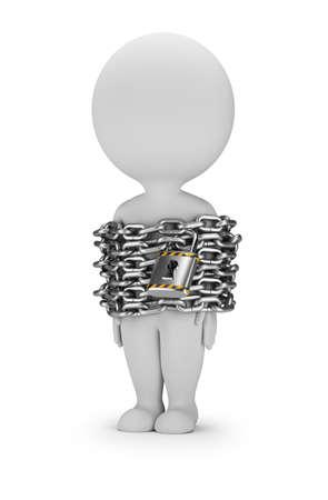 3D-kleine persoon staat in ketens. 3d beeld. Witte achtergrond.