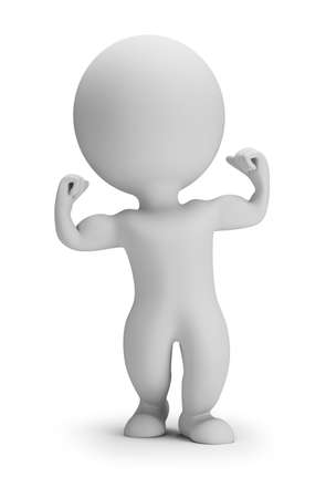 3d small person shows his muscles. 3d image. White background.