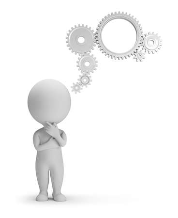 3d small people thinks. Thoughts from gears. 3d image. Isolated white background.