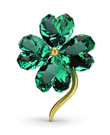 Brooch in the form of an emerald clover. St.Patrick s Day. 3d image. White background.