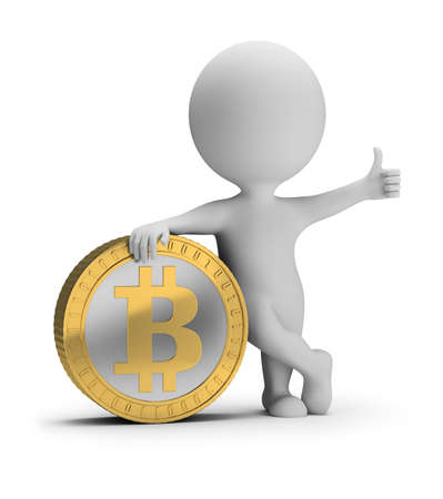 3d small person stands near a bitcoin coin with a thumb up. 3d image. White background. Stock Photo