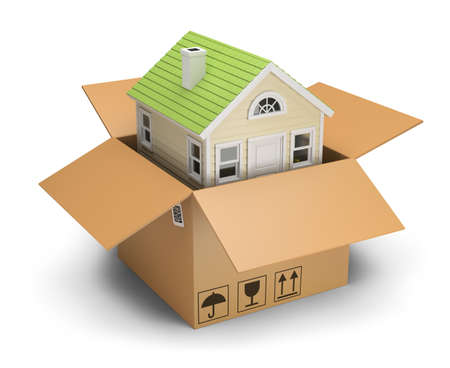 House in a cardboard box. 3d image. White background.