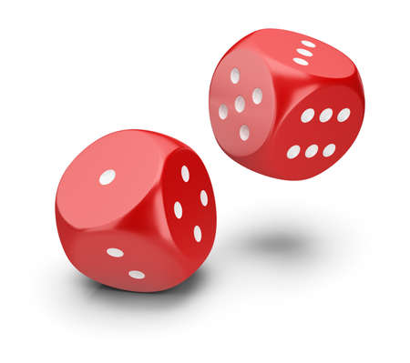 Red dice. 3d image. White background. Stock Photo - 95072873