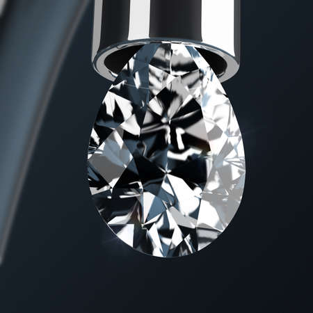 3d drop of pear-shaped diamond dripping from a faucet. 3d image. Stock Photo - 95072872