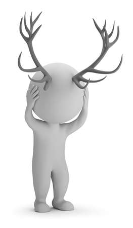 3d small person with horns on his head. 3d image. White background. Stock Photo