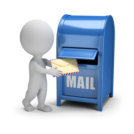 3d small person drops the letter into the mailbox. 3d image. White background.
