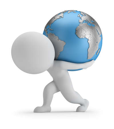 3d small person carries planet Earth. 3d image. White background. Stock Photo