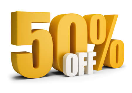 50 percent OFF. 3d image. White background. Foto de archivo