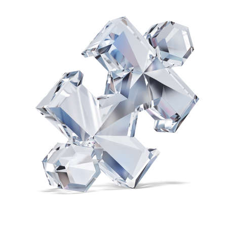 Diamond puzzle. 3d image. White background. Stock Photo