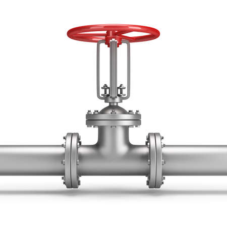 Pipe and valve. 3d image. White background.