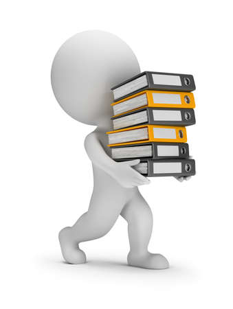 3d small person carries a stack of folders. 3d image. White background. Stock Photo