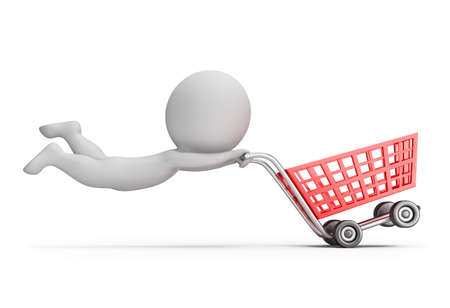 3d small person with a fast shopping cart. 3d image. White background.