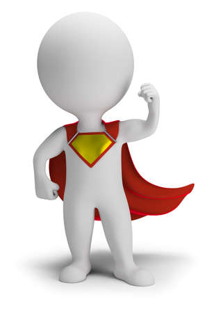 3d small person the superhero standing in a confident pose in a raincoat. 3d image. White background. Stock Photo