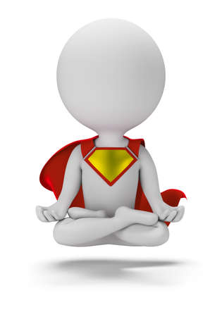 3d small person - in a lotus position levitates. 3d image. White background.