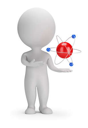 3d small person near the atom. 3d image. White background.