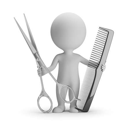 3d small people - hairdresser with big scissors and comb. 3d image. White background. Stock Photo