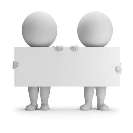 3d small people - two keep an empty board. 3d image. White background.