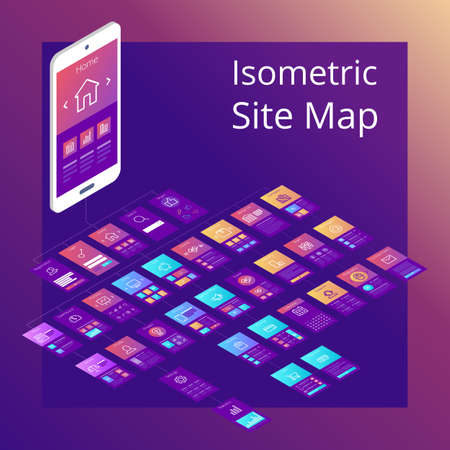 Concept of isometric website flowchart sitemap. Vector illustration. Illustration