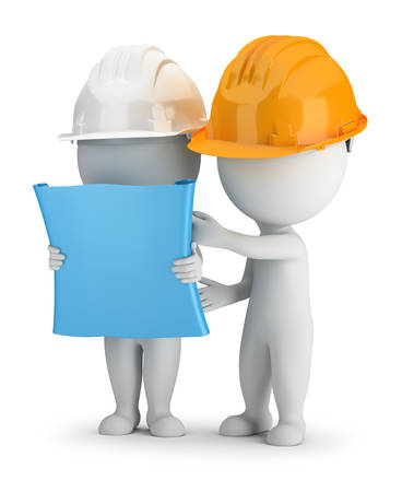 3d small people - two builders discuss the plan. 3d image. White background.