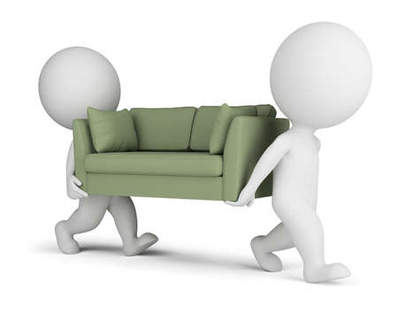 3d small people carry a sofa. 3d image. White background.