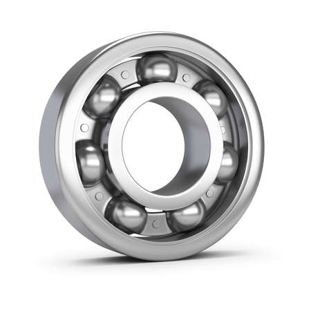 Steel ball bearing. 3d image. White background.