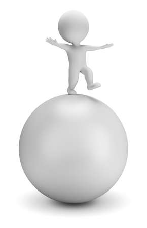 3d small person is balancing on a big ball. 3d image. White background.