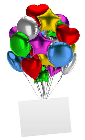 Bunch of balloons with an empty board. 3d image. Isolated white background. Stock Photo