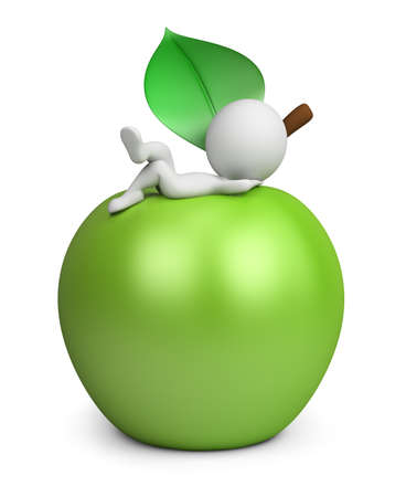 3d small person lies on a green apple. 3d image. White background. Stock Photo
