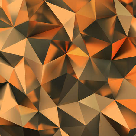 3d golden polygonal background. 3d image. Stock Photo - 117105735