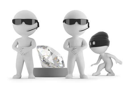 3d small people - thief wants to steal a diamond. Two guards. 3d image. White background. Banque d'images
