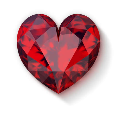 3d ruby heart with diagonal shadow. 3d image. White background.
