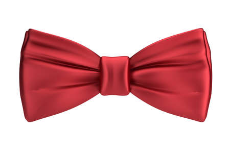 3d red silk bow tie. 3d image. Isolated white background. Banque d'images